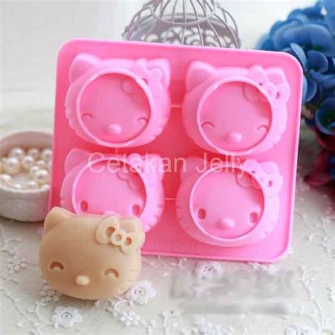 Cetakan Silikon Puding Kue Doraemon 6 Cav cetakan silikon kue puding hello 4 cav smile cetakan jelly cetakan jelly