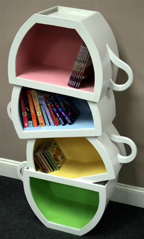 creative bookshelf with stacked teacup