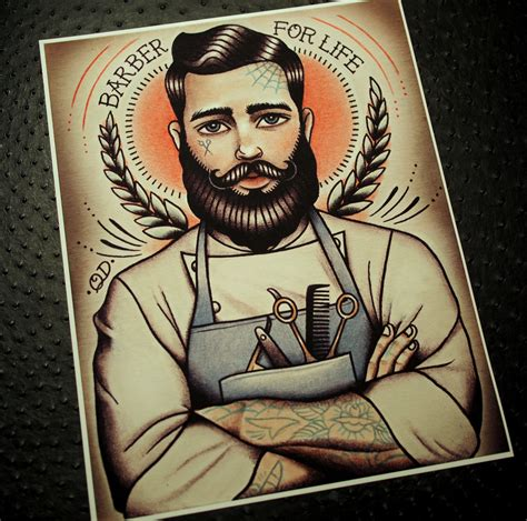 tattoo old school vintage barber for life tattoo art print