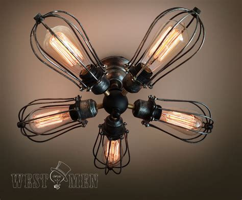 Ceiling Fan With Cage Light 2015 New Rustic 5 Lights Iron Cage Ceiling Fan L Steunk Industrial Ceiling Light Edison Jpg