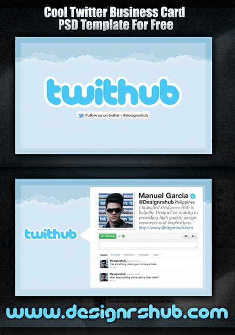 cool twitter business card psd template for free
