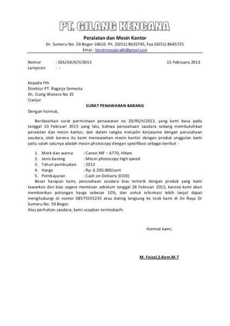 Contoh Surat Permintaan Jasa Pengiriman Barang by Contoh Surat Penawaran Dan Cara Membuatnya Sarungpreneur