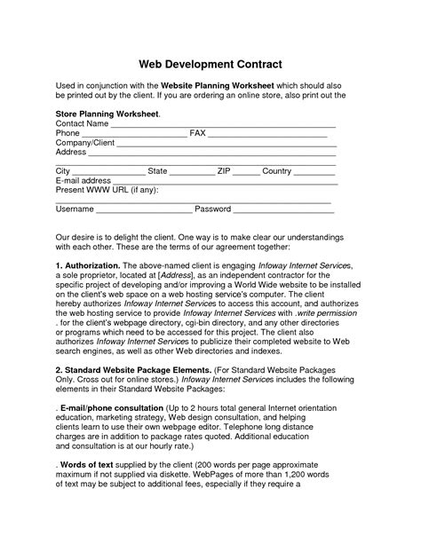 site agreement template web developer contract template free printable documents