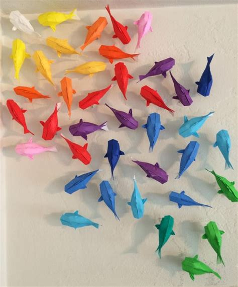 Origami Koi Fish Easy - wall of rainbow koi 7 steps with pictures