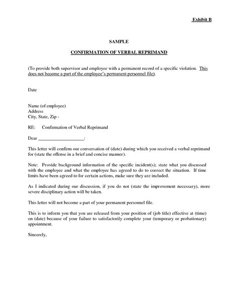 letter of reprimand template letter of reprimand template letters free sle letters