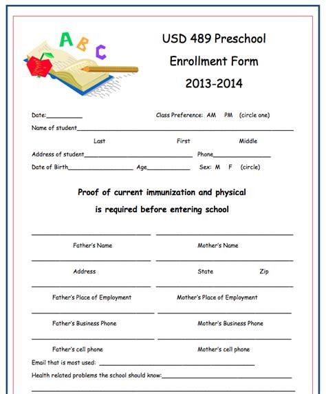 preschool enrollment form template preschool enrollment form images frompo