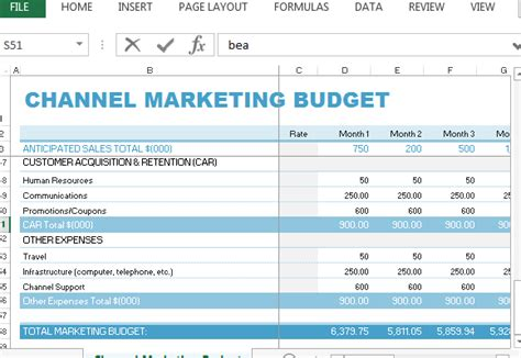 relations budget template channel marketing budget template for excel