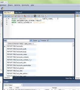 Mysql Repair All Tables Mysql Workbench Repairing All Tables In A Database