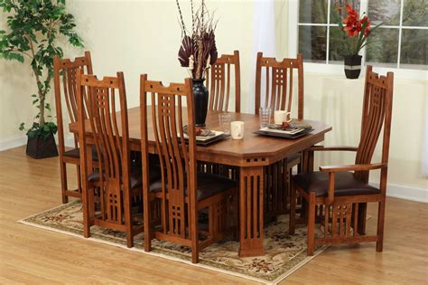 7 Pieces Oak Mission Style Dining Room Set With Rectangle Low Dining Table 9 Pieces Oak Mission Style Dining Room Set With Hexagon