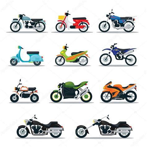 motocykl typy objektu ikony set stock vektor  muchmania