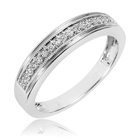 his and hers white gold wedding bands 1 4 ct t w his and hers wedding band set 10k
