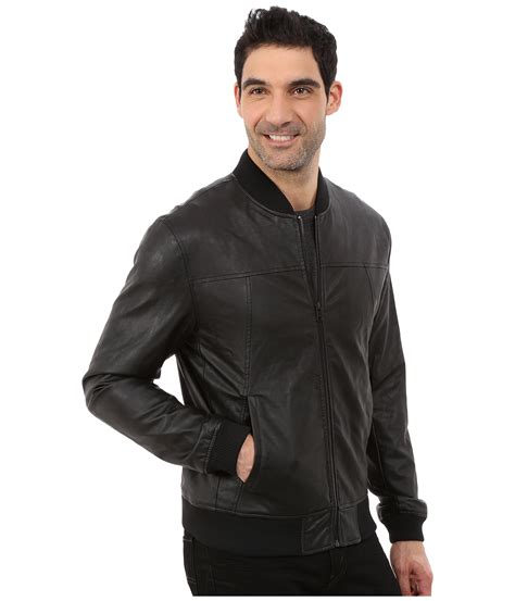 faux leather bomber dkny faux leather bomber jacket in black for lyst