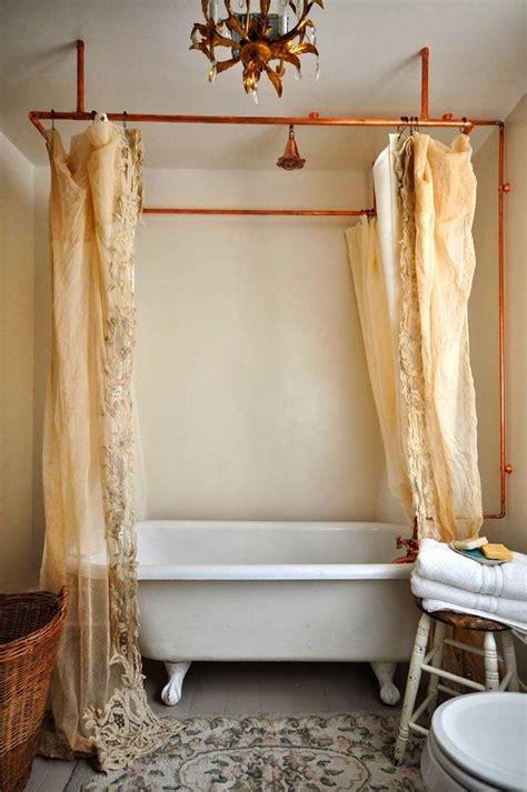 copper shower curtain rod eclectic home tour vintage whites