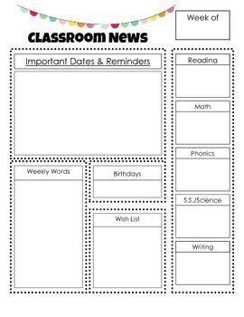 newsletter outline template newsletter outline free back to school classroom