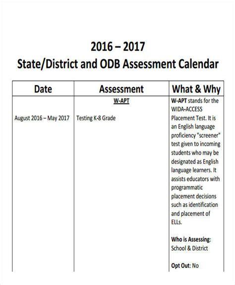 assessment calendar template 9 assessment calendar templates exles in word pdf