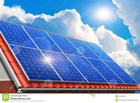 solar powered house ls solar panels on house roof stock photo image 34209020
