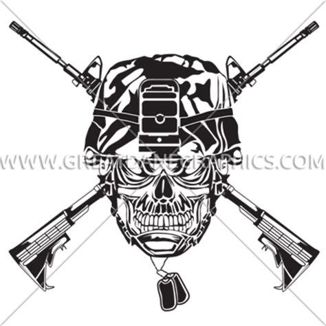 Kyle Cutting Sticker Colt M16 skull army helmet production ready artwork for t shirt