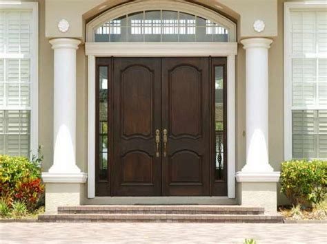 Modern Home Main Door Design With Dark Gray Wooden Single Front Exterior Doors For Homes