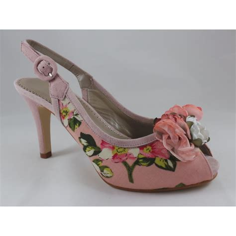 pink floral peep toe sling back shoe from