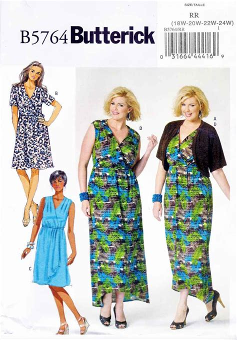 clothes pattern store butterick sewing pattern 5764 women s plus size 18w 24w