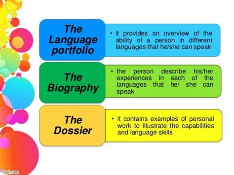 language features in a biography portfolio