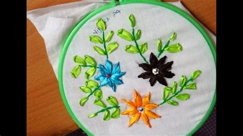 flower design youtube ribbon embroidery beautiful flower designs youtube