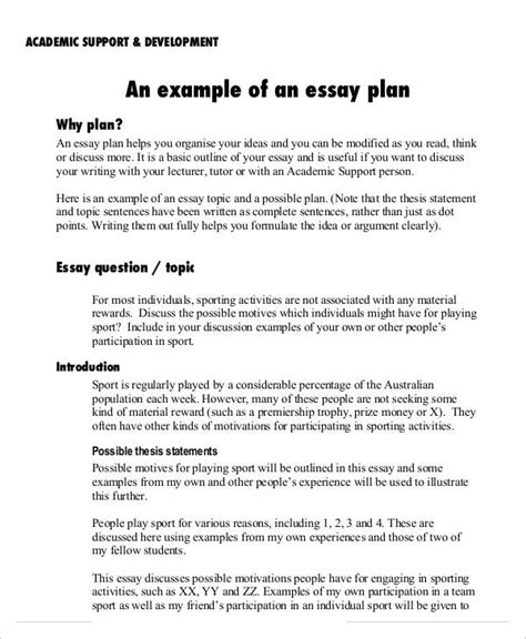 academic goals essay sle essay plan template 28 images 8 essay plan templates