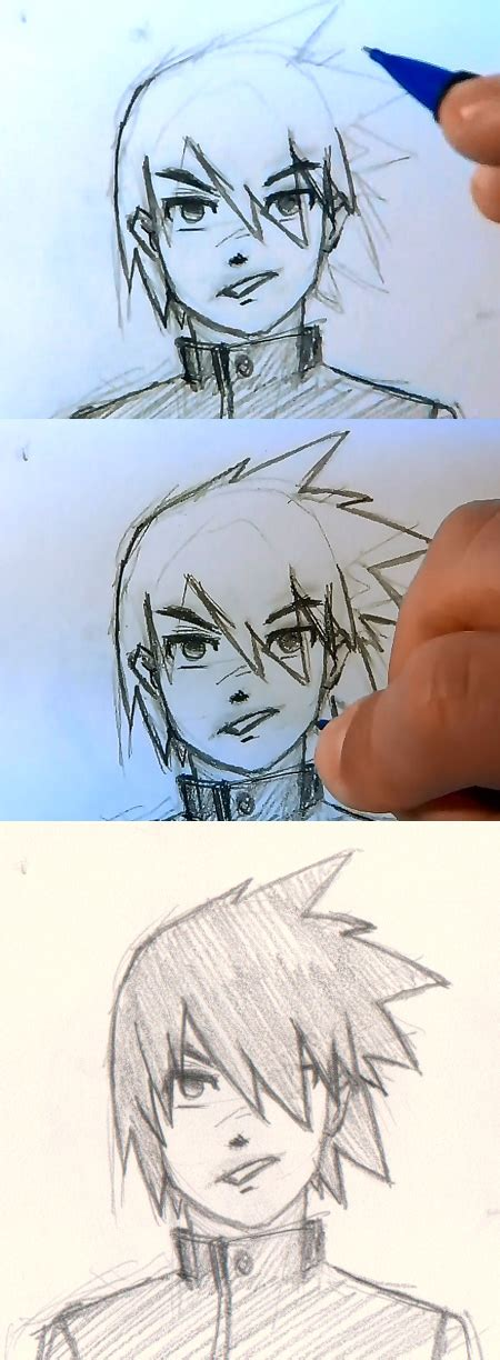 how to draw spiky anime hair draw manga man hair 4 different ways drawing and digital