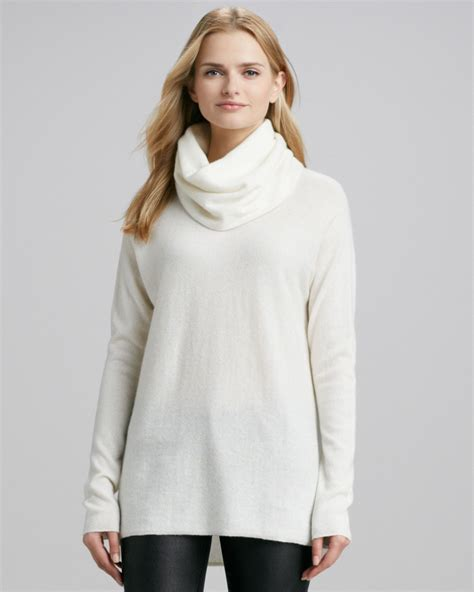 Drape Neck Sweater vince drapeneck sweater winter white in white winter white lyst