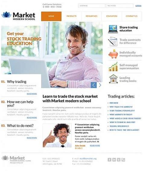 Best Education Website Templates Entheos Stock Market Website Template Free