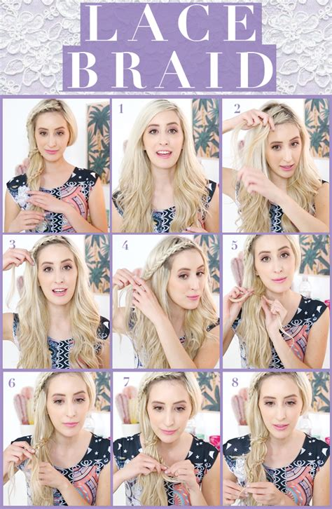 lace braid step by step pretty lace braid hair tutorial hair extensions blog