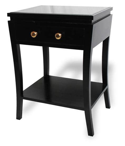 black lacquered solid mahogany bedside table shropshire