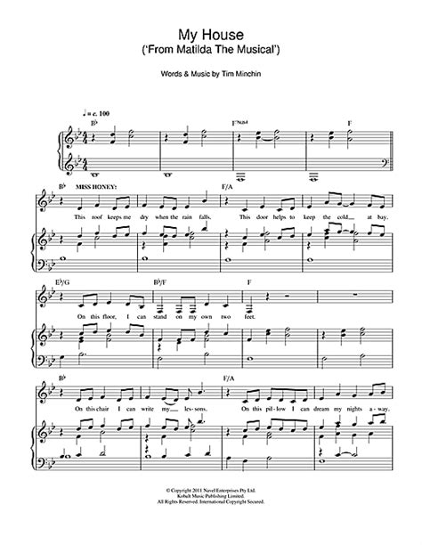 our house the musical soundtrack my house from matilda the musical sheet music by tim minchin piano vocal