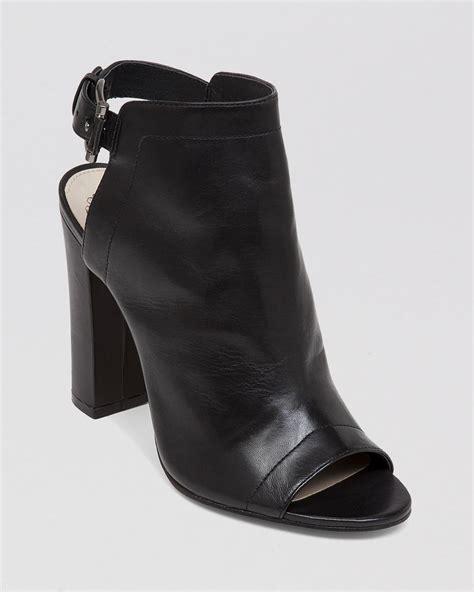 high heel booties for lyst vince camuto open toe booties vamelia high heel