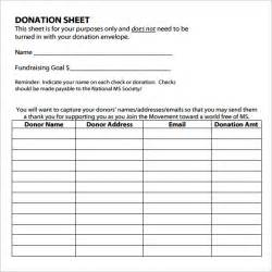 Donations Template by Sle Donation Sheet Documents In Pdf Word