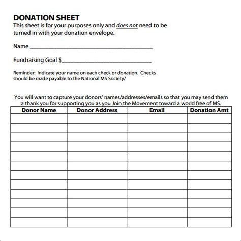 Donation Sheet Template by Sle Donation Sheet 9 Documents In Pdf Word