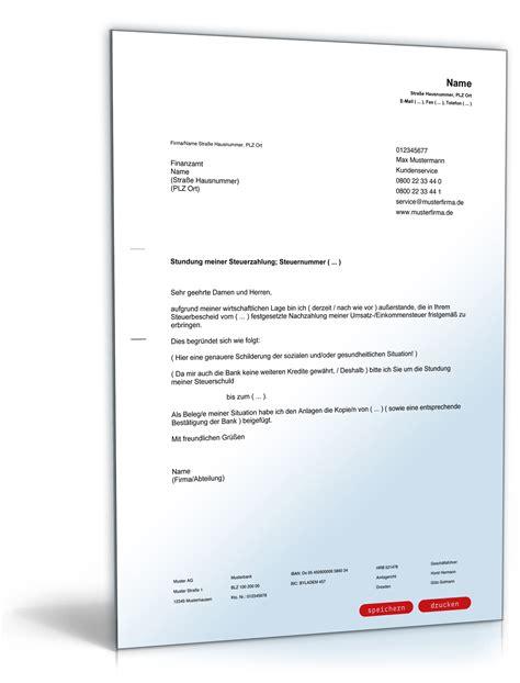 Antrag Briefvorlage Antrag An Das Finanzamt Auf Stundung Der Steuerschuld