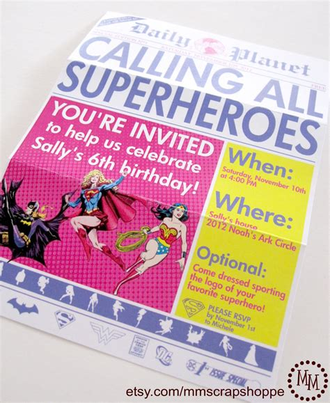 newspaper theme invitation girls superhero newspaper custom printable birthday invitation