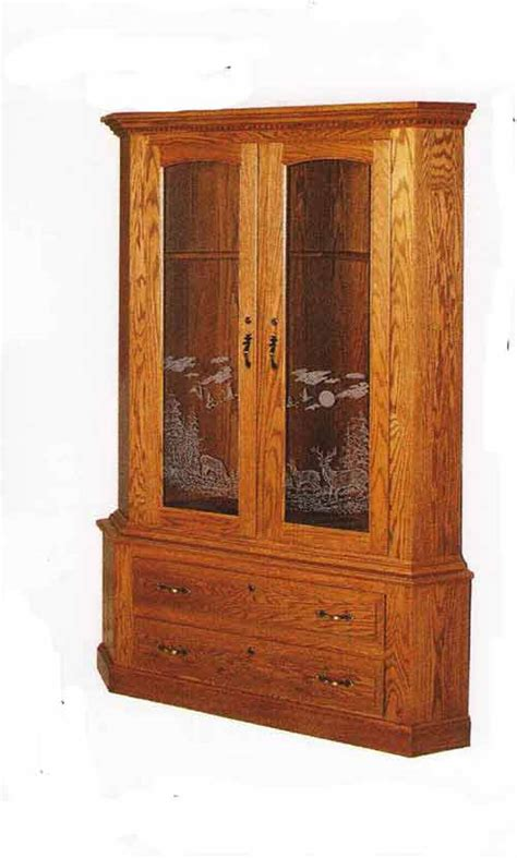 wood gun cabinet with etched glass amish gun cabinets in standard designs amish custom gun