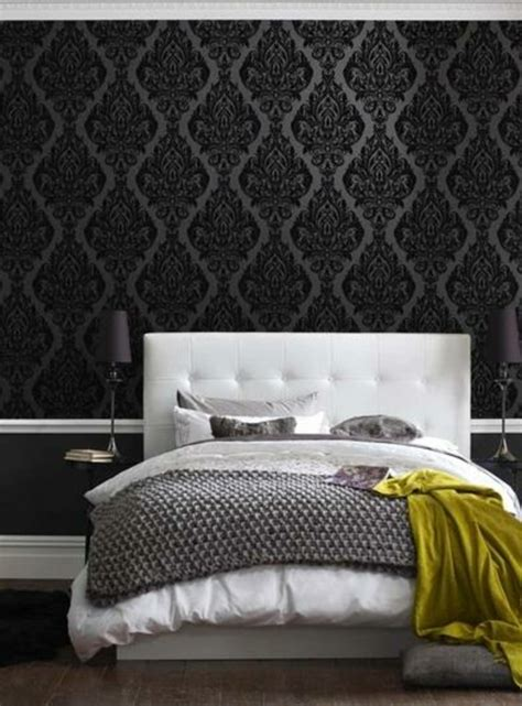 bett rückwand gestalten schwarz idee schlafzimmer