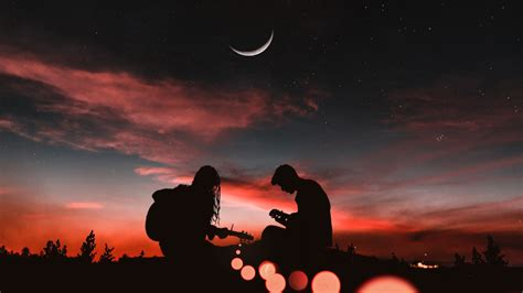 romantic couple playing guitar sunset moon hd wallpapers