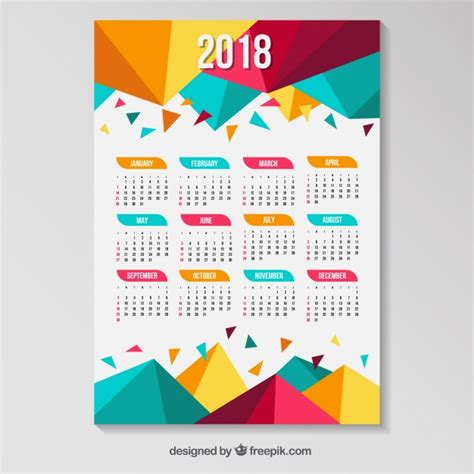 printable calendar 2018 colorful 2018 calendar with colored polygons vector free download