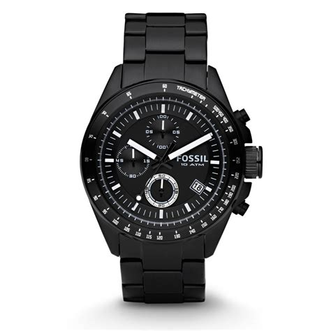 Fossil Kulit Black Limited fossil decker chronograph stainless steel black