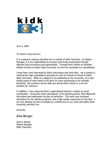 Community Service Involvement Letter Kidk Tv Reference Letter