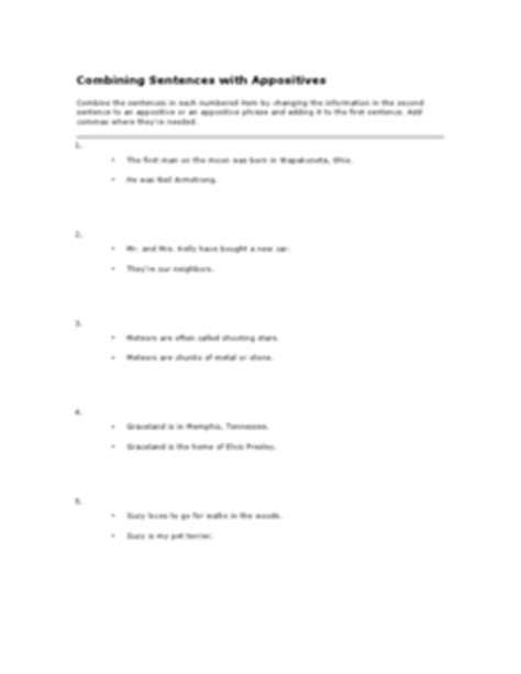 combining sentences with appositives worksheet for 6th