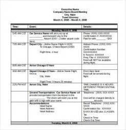 Itinerary Template Doc by Itinerary Template 15 Free Word Excel Pdf Documents