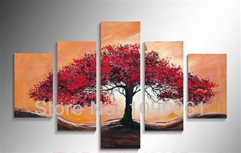 hand painted picture sets 5 panel wall art no framed hand painted red abstract tree art huge canvas painting 5