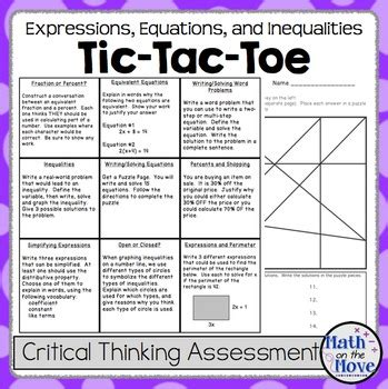 sle of to toe assessment expressions equations and inequalities tic tac toe