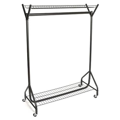 heavy duty clothes rail  top  bottom shelf  ft