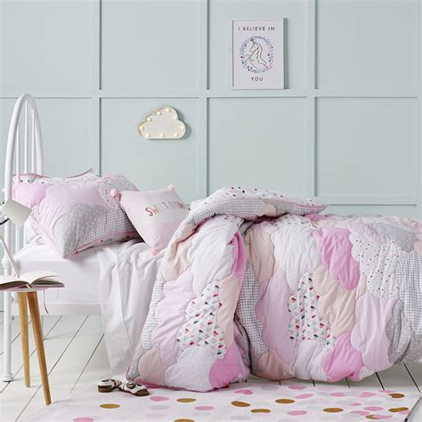 cloud bedding adairs kids cloud quilted quilt cover set pink bedroom